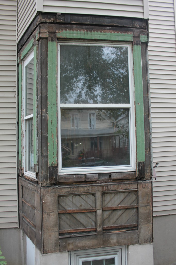 Bay with siding removed