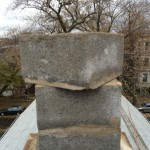 Loosened chimney block