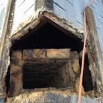 Chimney below roof line