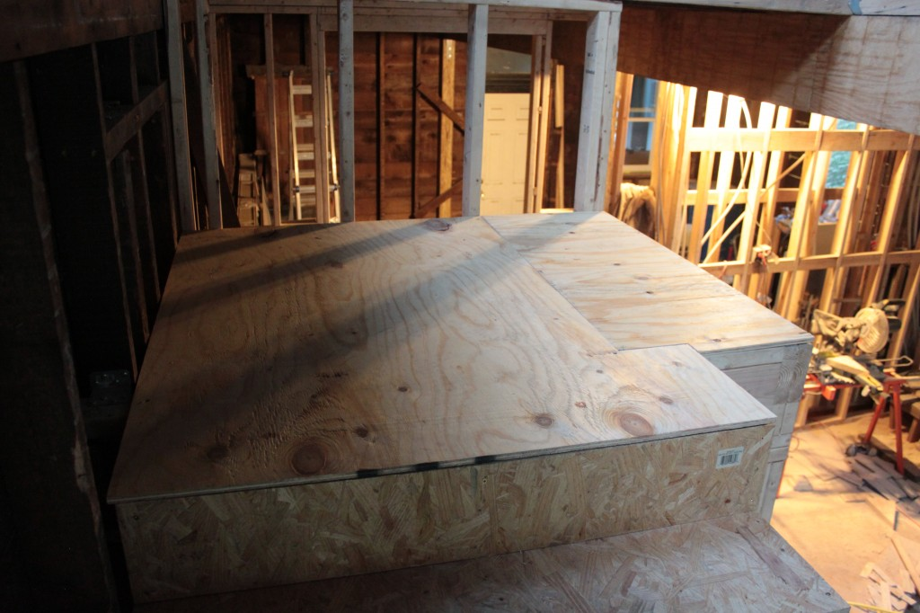 Landing subfloor installed