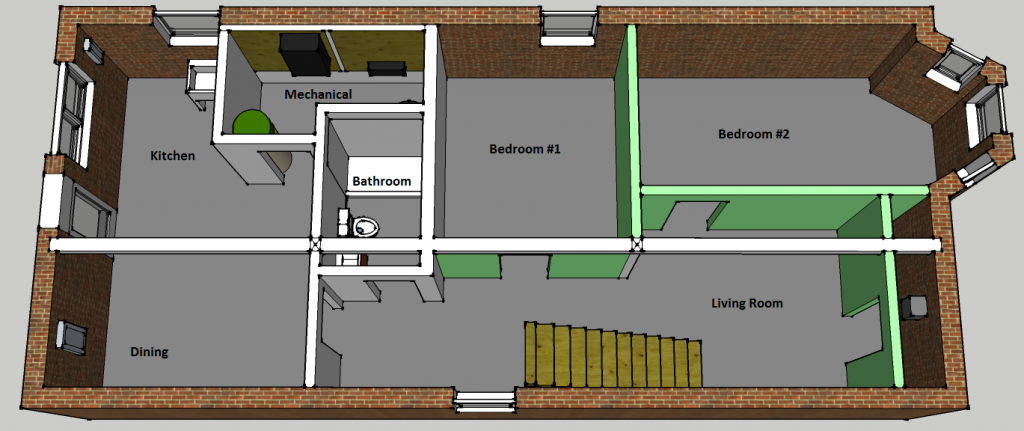 Basement plan two flat remade for Basement apartment floor plans