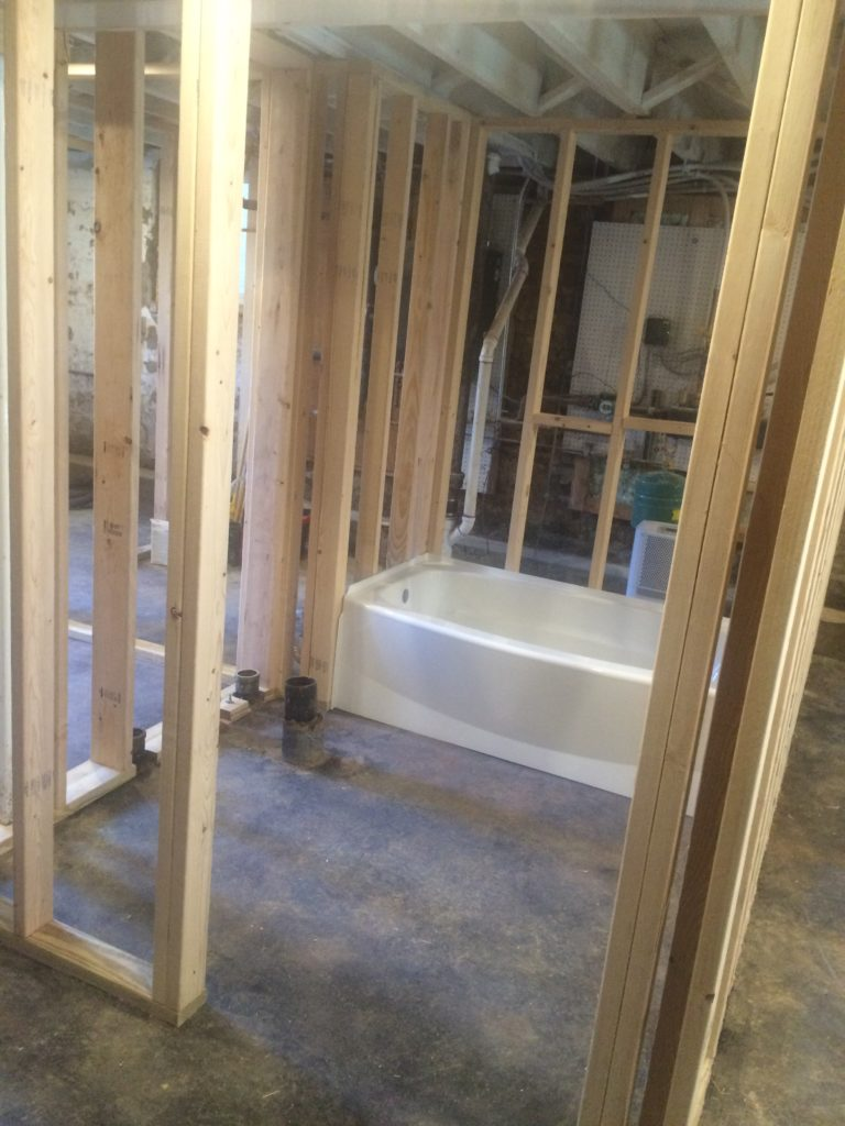 Bathroom framing done